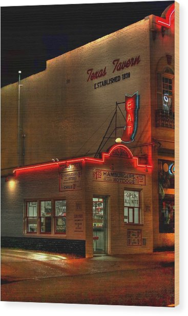 Open All Nite-texas Tavern Wood Print