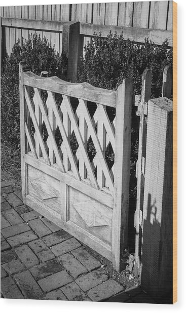 Open Garden Gate B W Wood Print