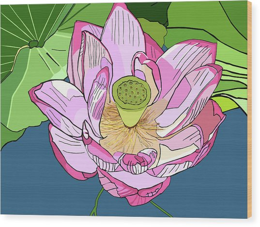 Open Lotus Wood Print