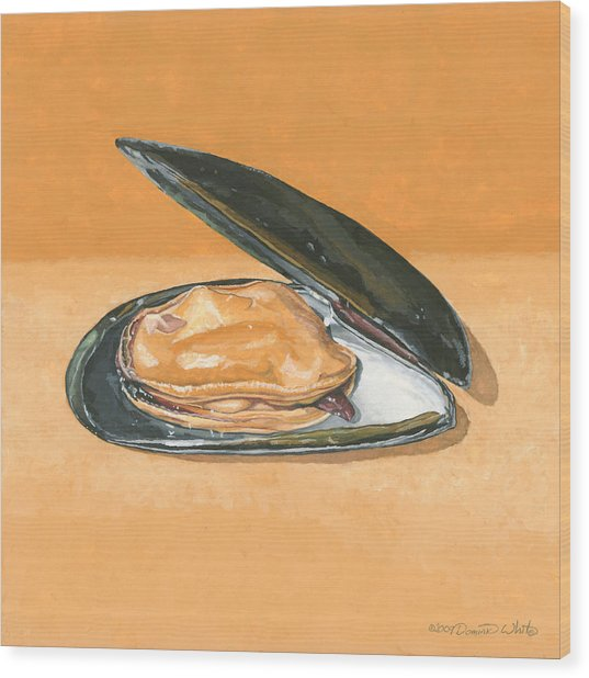 Open Mussel Wood Print
