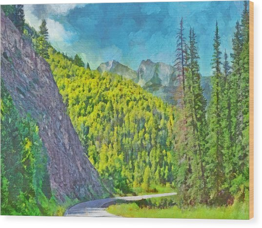 Open Road In The Colorado Rocky Mountains Wood Print