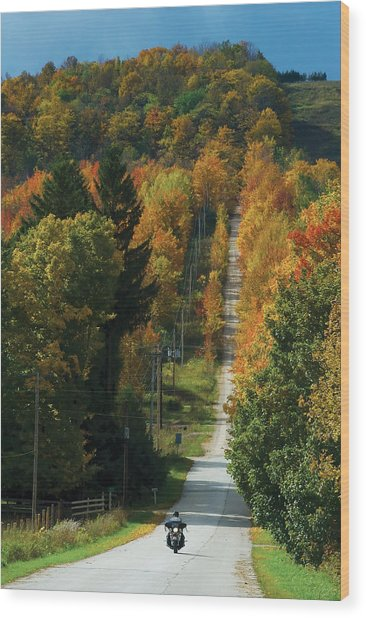 Open Road Rider Wood Print