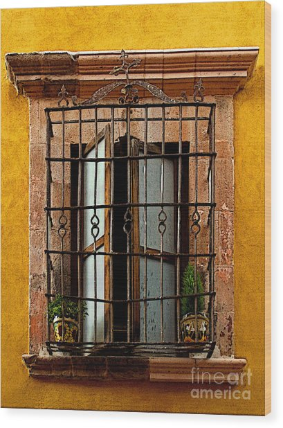 Open Window In Ochre Wood Print by Mexicolors Art Photography