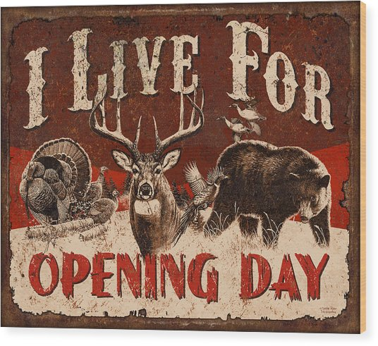 Opening Day Sign Wood Print