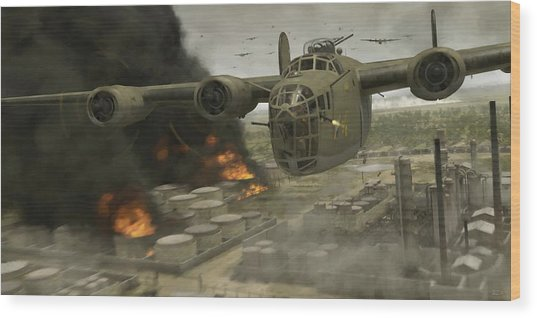 Operation Tidal Wave Head-on View - Painterly Wood Print