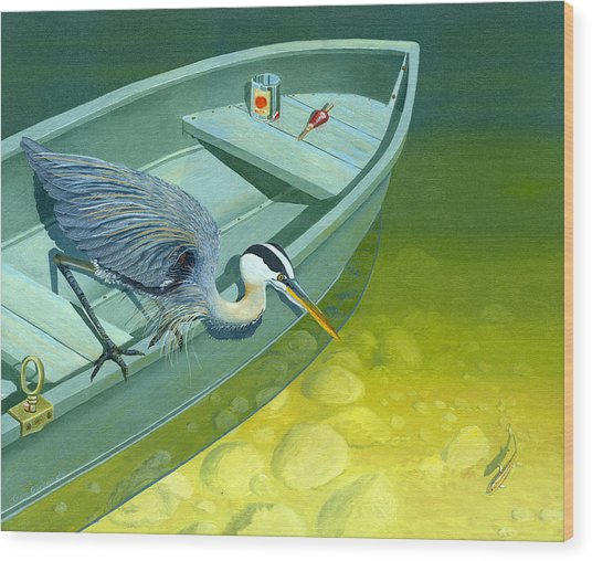 Opportunity-the Great Blue Heron Wood Print