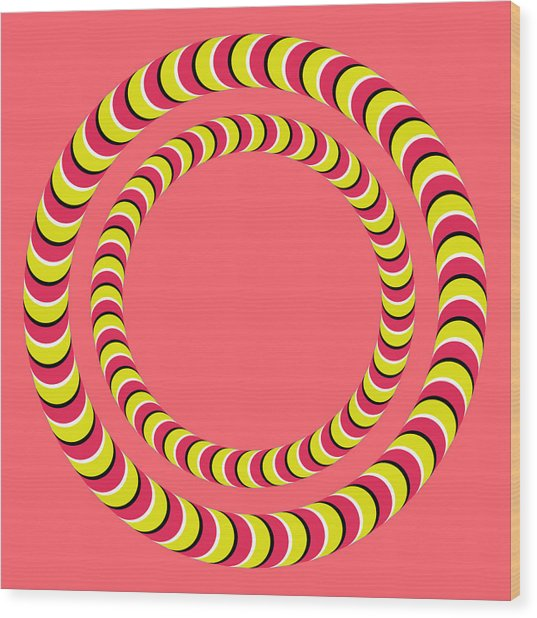 Optical Illusion Circle In Circle Wood Print