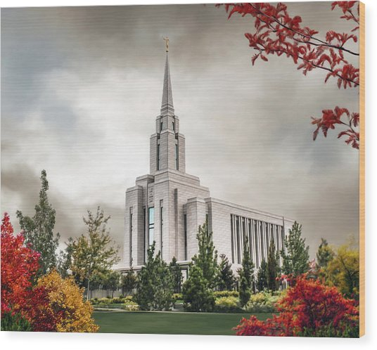 Oquirrh Mountain Temple Wood Print by Brent Borup