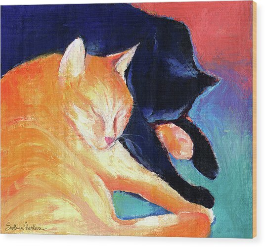 Orange And Black Tabby Cats Sleeping Wood Print