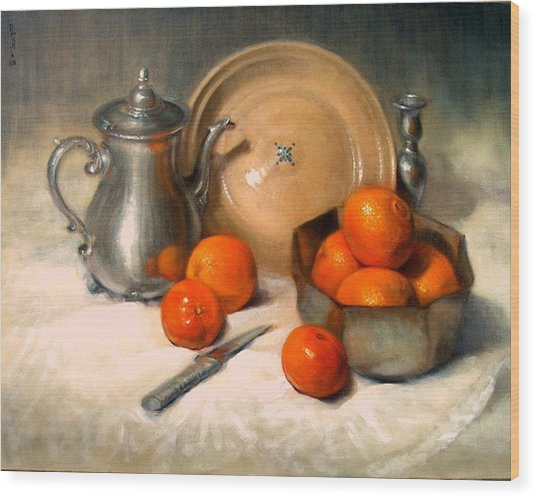 Orange And Gray Wood Print by Donelli  DiMaria