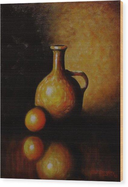 Orange And Jug Wood Print
