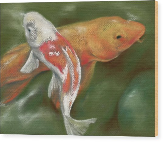 Orange And White Koi With Mossy Stones Wood Print