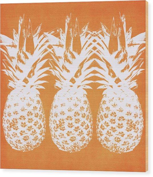 Orange And White Pineapples- Art By Linda Woods Wood Print