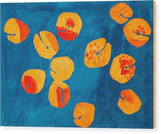 Orange Apricots Wood Print by Vitali Komarov
