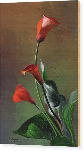 Orange Calla Lily Wood Print by Thanh Thuy Nguyen
