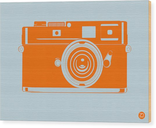 Orange Camera Wood Print