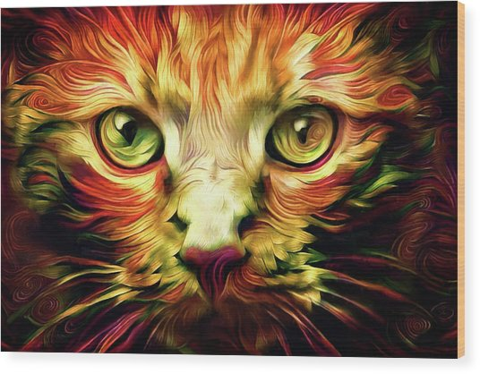 Orange Cat Art - Feed Me Wood Print