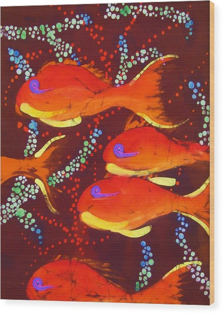 Orange Coral Reef Fish Wood Print
