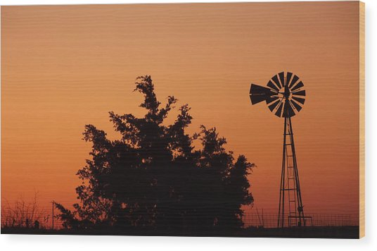 Wood Print featuring the photograph Orange Dawn With Windmill by Shelli Fitzpatrick