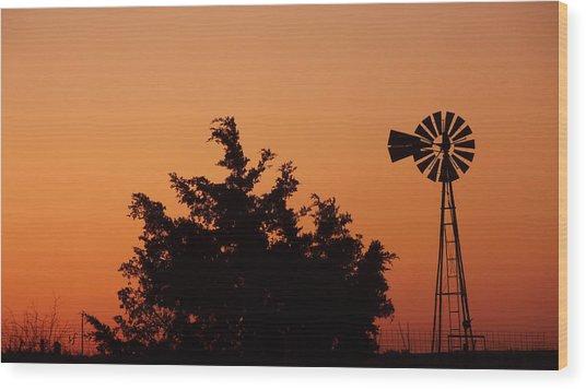 Orange Dawn With Windmill Wood Print