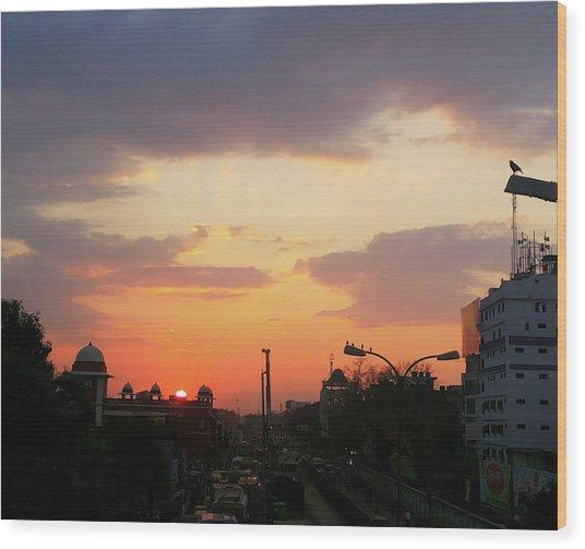 Orange Evening Sky Wood Print