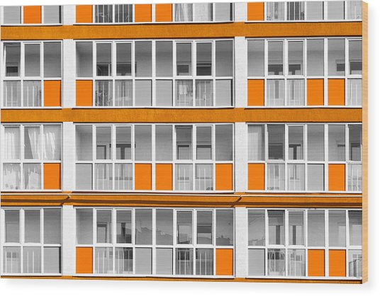 Orange Exterior Decoration Details Of Modern Flats Wood Print