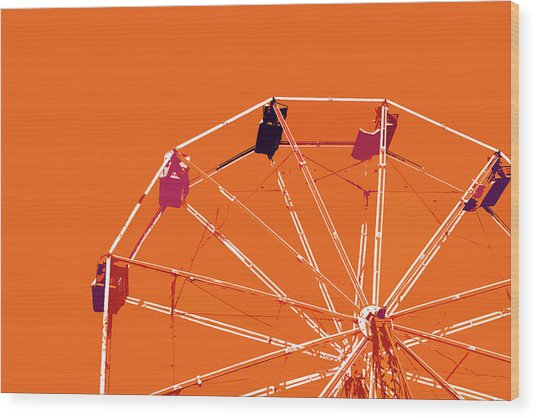 Orange Ferris Wheel Wood Print