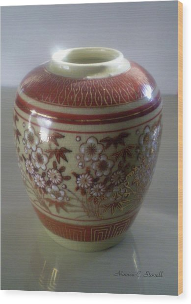 Orange Flowered Vase Wood Print