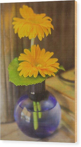 Orange Flowers Blue Vase Wood Print
