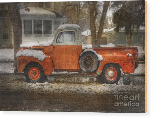 Orange Ford 150 Wood Print