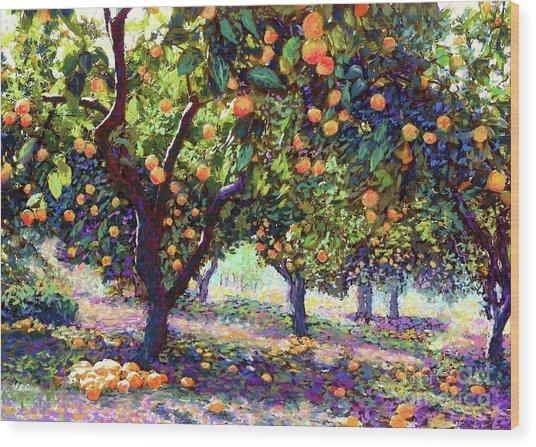 Orange Grove Of Citrus Fruit Trees Wood Print