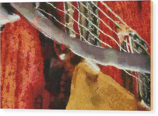 Orange Guitar Wood Print