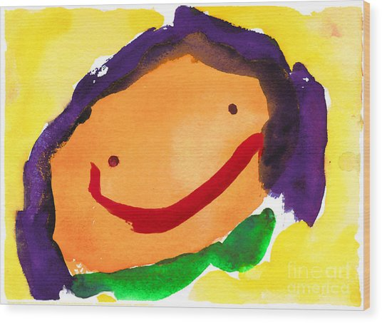 Orange Happy Face Wood Print