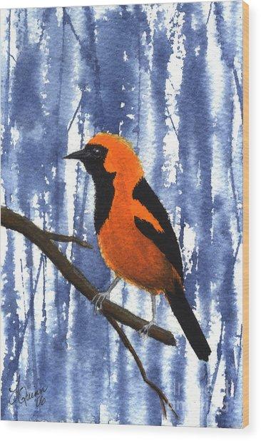Orange-headed Oriole Wood Print