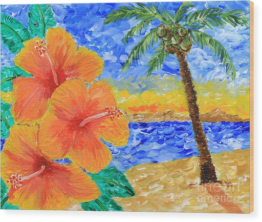 Orange Hibiscus Coconut Tree Sunrise Tropical Beach Painting Wood Print