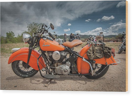 Orange Indian Motorcycle Wood Print