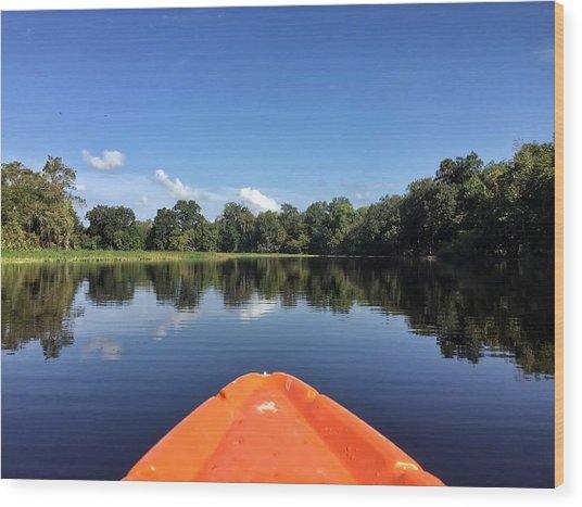 Orange Kayak  Wood Print