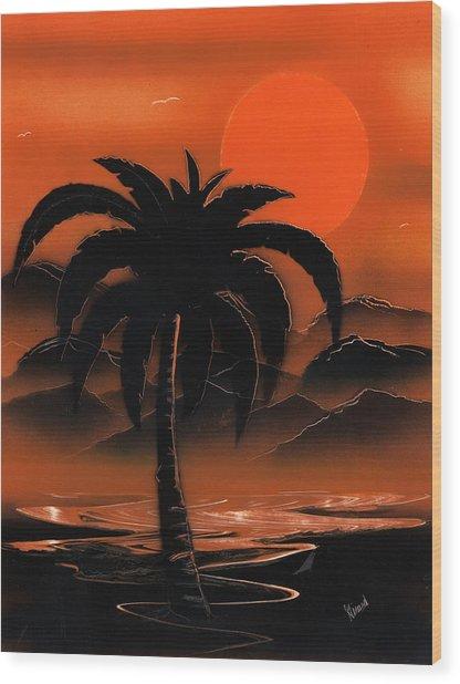 Orange Oasis Wood Print