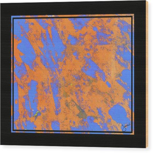 Orange On Blue Wood Print by JOnezi