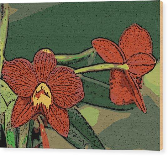 Orange Orchids Wood Print