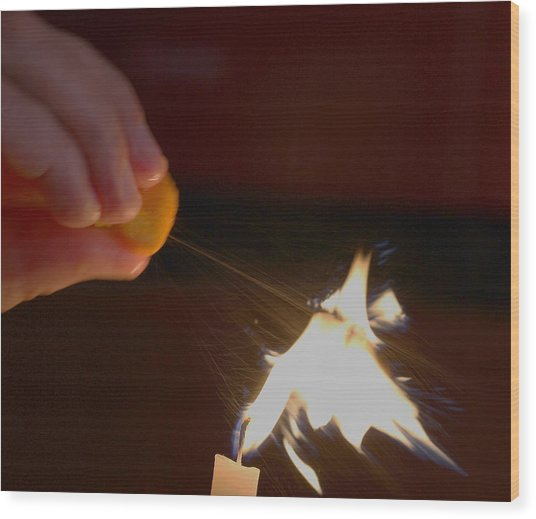 Orange Peel Flame Thrower. Wood Print