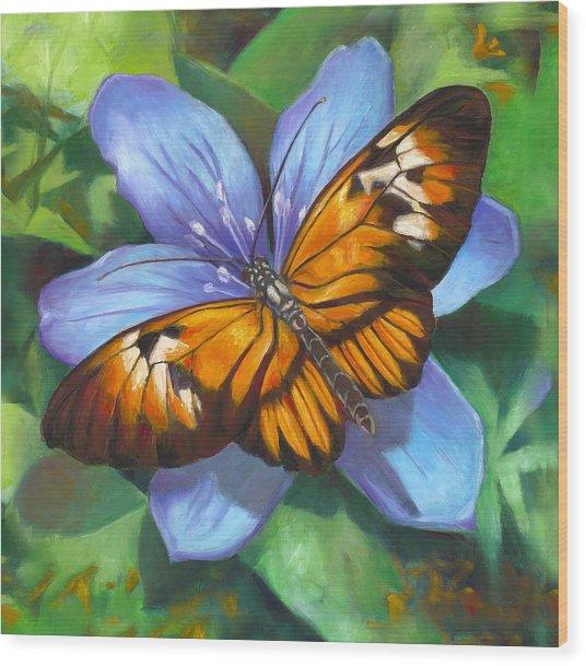 Orange Piano Key Butterfly Wood Print