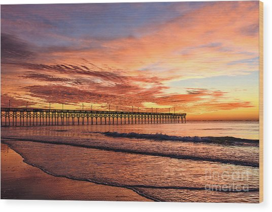 Orange Pier Wood Print