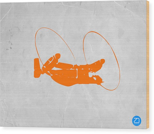 Orange Plane Wood Print