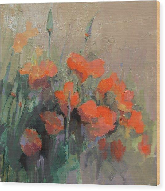 Orange Poppies Wood Print by Cathy Locke