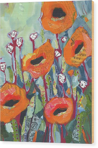 Orange Poppies Wood Print