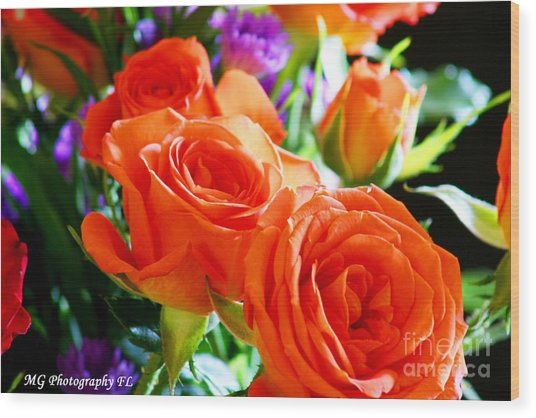 Wood Print featuring the photograph Orange Rose by Marty Gayler