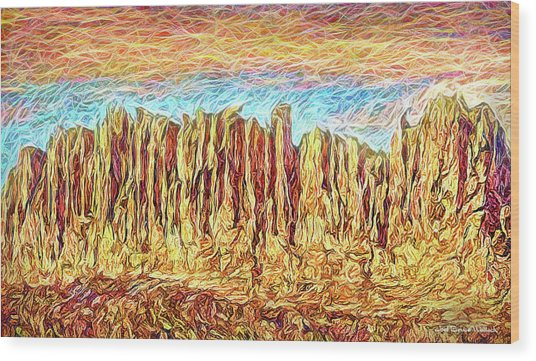Orange Sky Cliffs - Colorado Wood Print