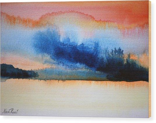 Orange Solitude Wood Print by Neva Rossi