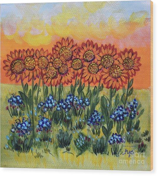 Orange Sunset Flowers Wood Print